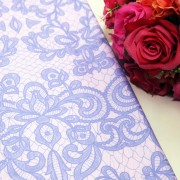 White Sketches On Purple Polycrepe Printed
